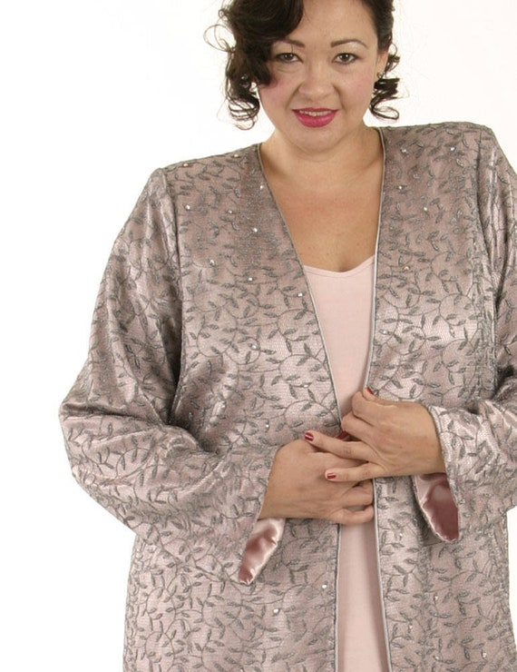 Plus Size Wedding Dress Alternative Bridal 2 Piece Lined Mesh Jacket Pink  Silver Silk Swarovski Crystals Custom Made