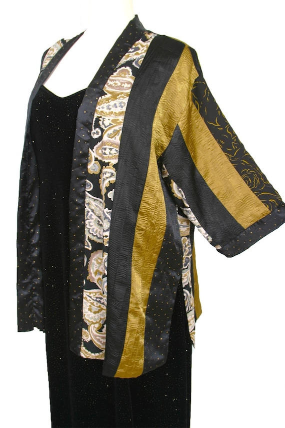 Plus Size Special Occasion Kimono Jacket Gold Black Ivory Paisley Dress  Pants Custom Made Sizes 18/20, 22/24