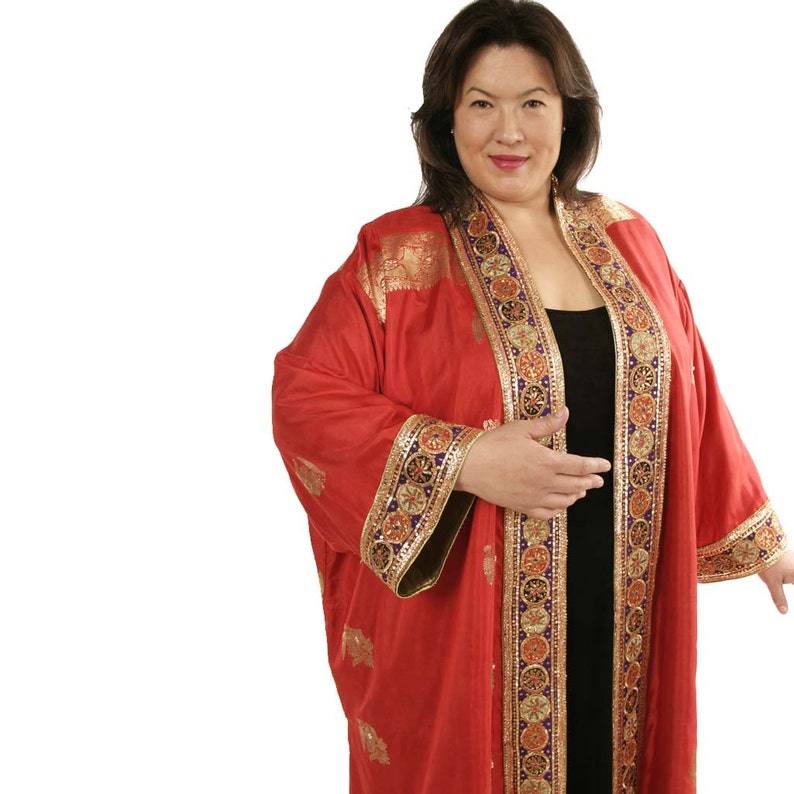 Plus Size Special Occasion Calf Length Formal Plus Size Coat Red Gold  Embellished Sari Silk Wearable Art Sizes 30/32, 34/36