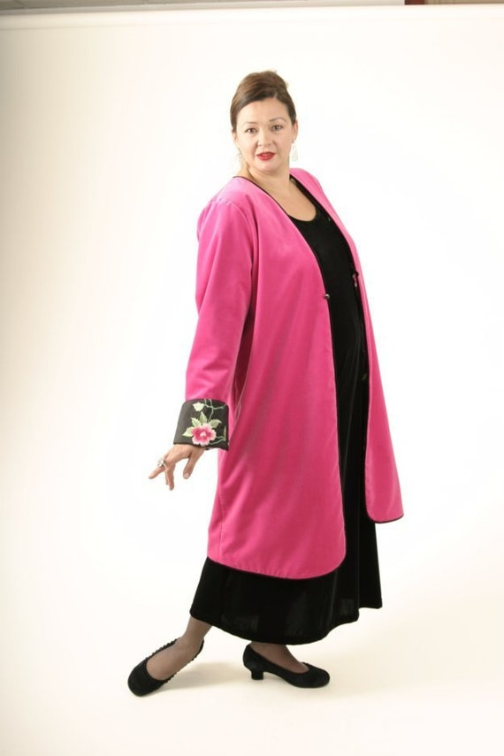Plus Size Wedding Guest Dress Lined Jacket Hot Pink Green Floral  Embroidered Beaded Taffeta Sizes 14 - 30