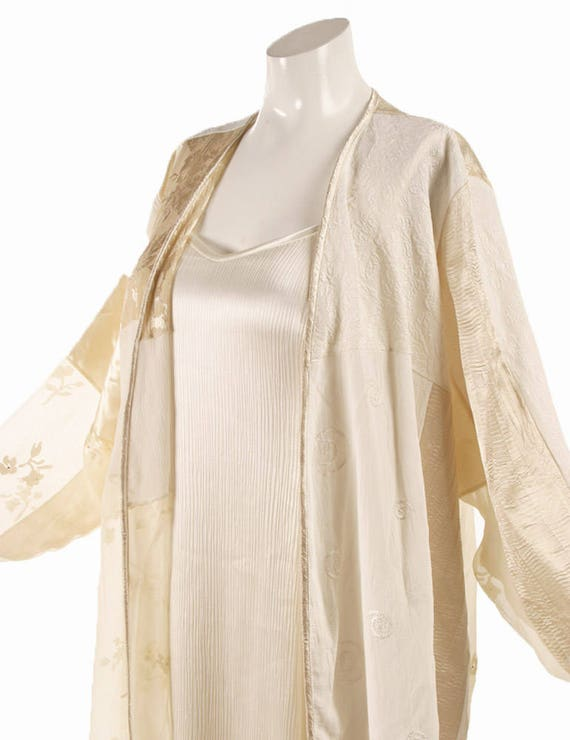 Plus Size Mother of Bride Jacket Dress Gold Ivory White Silk Wearable Art  by Peggy Lutz Sizes 18/20 - 30/32