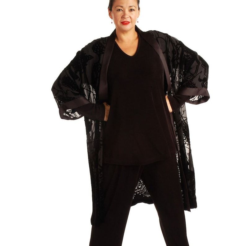 Plus Size Mother of Bride Pant Suit Calf Length Kimono Black Eden Silk  Velvet Burnout Sizes 14 - 34 Top Pants Custom Made