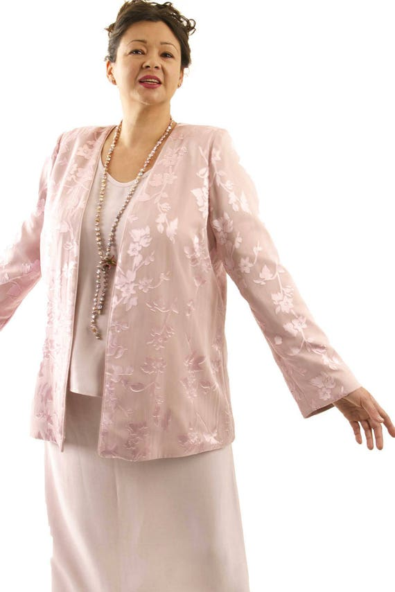 Alternative Wedding Dress Plus Size Jacket Pink Silk Floral Mother of the  Bride Wedding Dress Custom Made