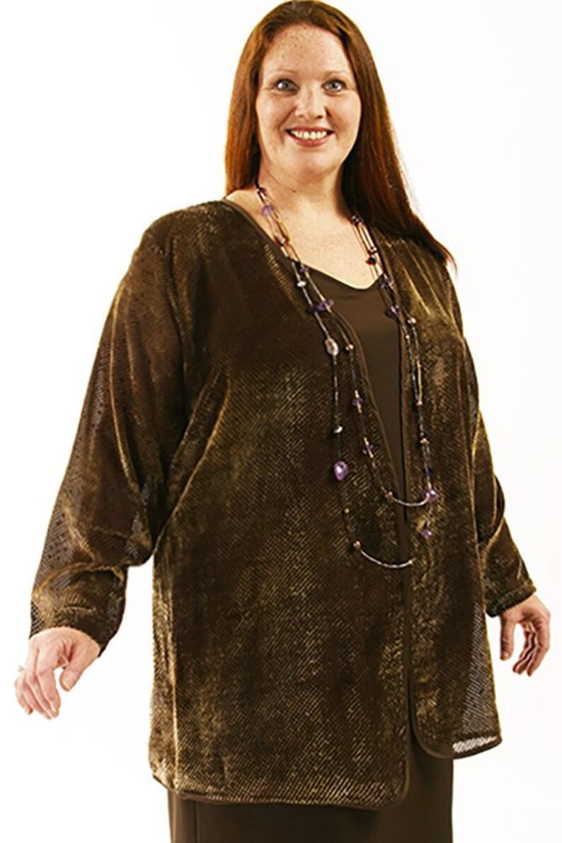 Plus Size Mother of Bride Dress Jacket Bronze Silk Velvet | Etsy