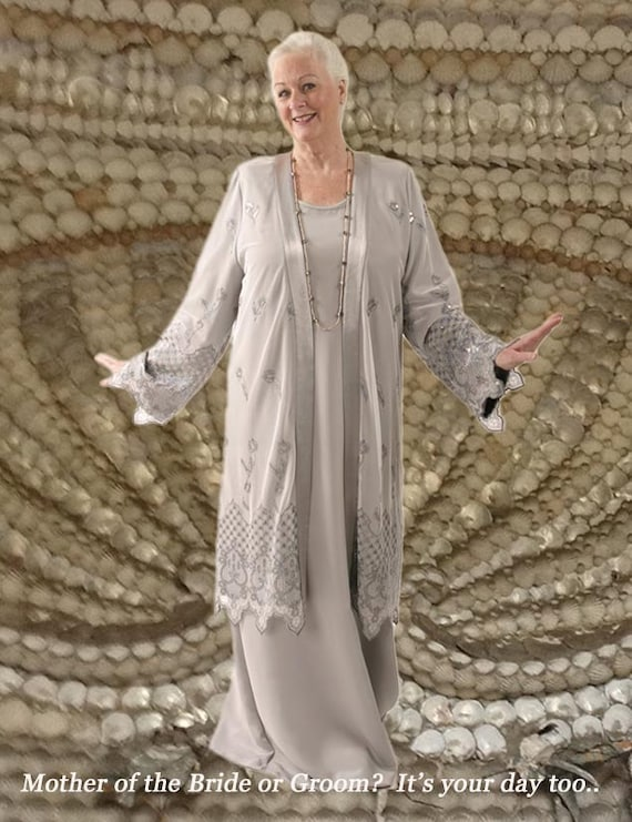 Plus Size Mother of Bride Dress with Jacket Silver White Grey Embroidered  Sequins Dress Custom Made