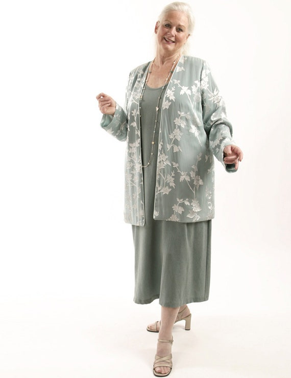 Plus Size Mother Bride Jacket Dress 2 Piece Sage Silver Silk Floral Devore  Diamante Sizes 14- 30