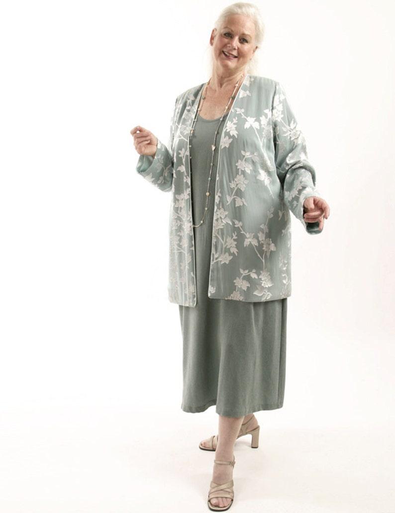 Plus Size Mother Bride Jacket Dress 2 Piece Sage Silver Silk | Etsy
