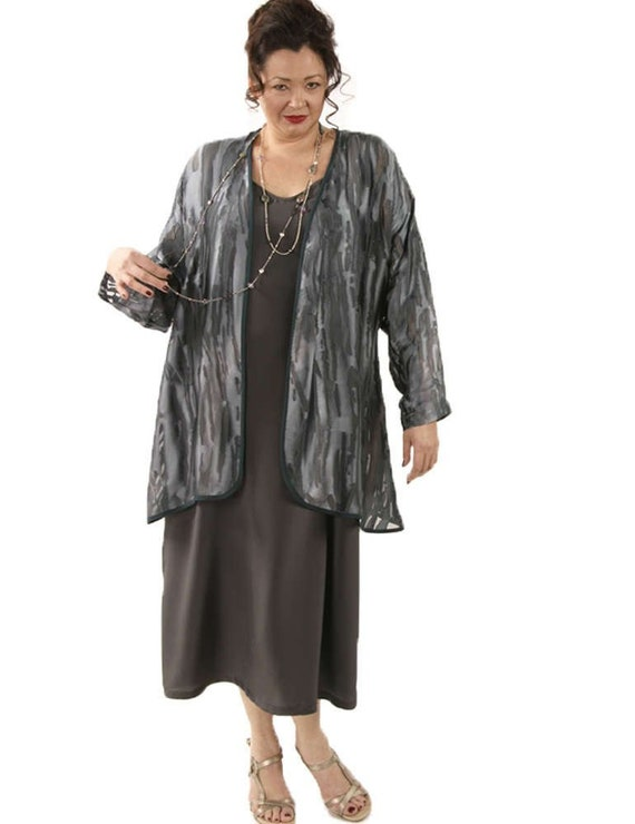 Plus Size Mother of Bride Dress Jacket Gray Ombre Dressy Silk Jacket Dress  Custom Made
