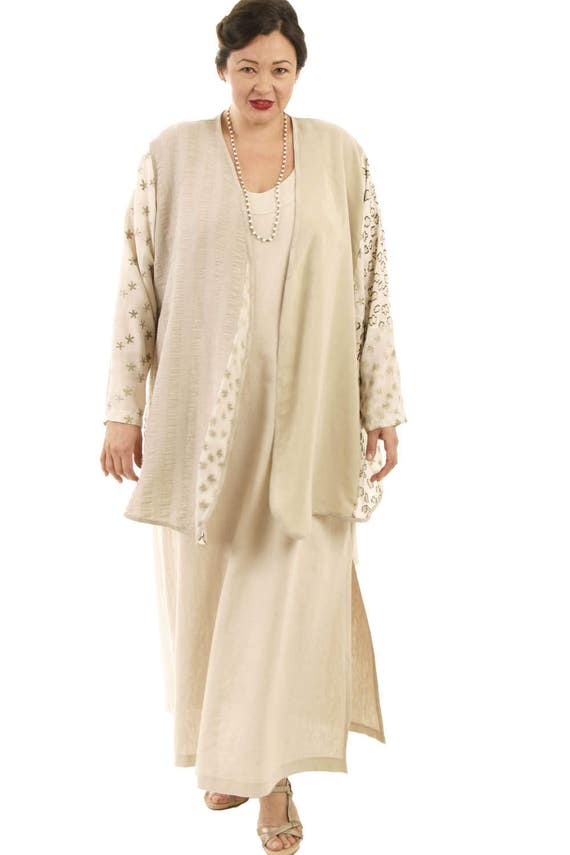 Plus Size Mother of Bride Dress with Sleeves Wedding Jacket Ivory Champagne  Gold Embroidered French Silk Natural Linen Dress Custom Made
