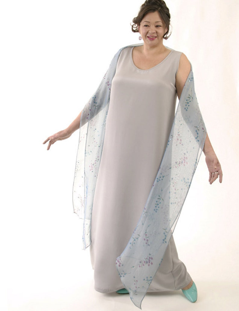 CUSTOM Plus-Size Long Tank Dress Silver Silk Crepe Mother of the Bride  Dress by Peggy Lutz Sizes 14 - 30