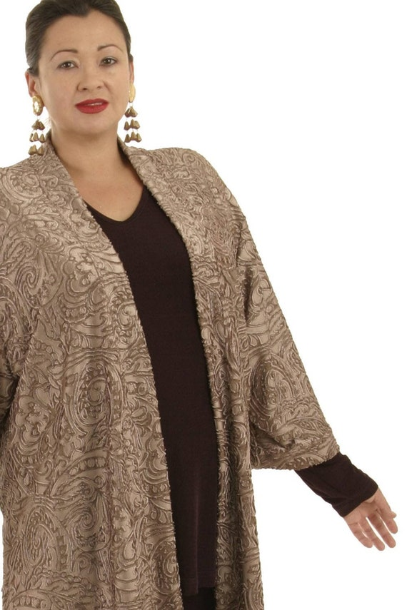 Plus Size Mother of Bride Dress with Jacket Tunic Length Kimono Stretch  Filigree Taupe Dress Custom Made Sizes 18/20 26/28