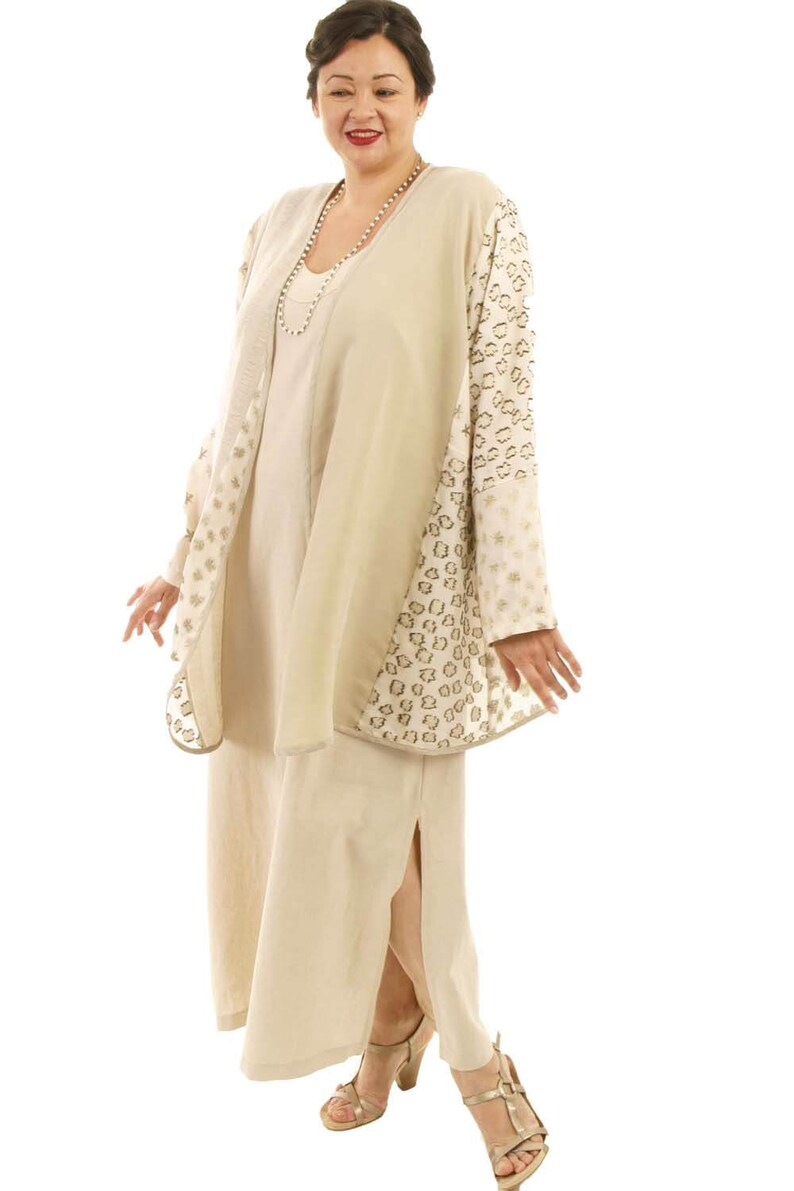 Plus Size Wedding Dress Jacket Ivory Champagne Gold Embroidered French Silk  Custom Dress Natural Linen