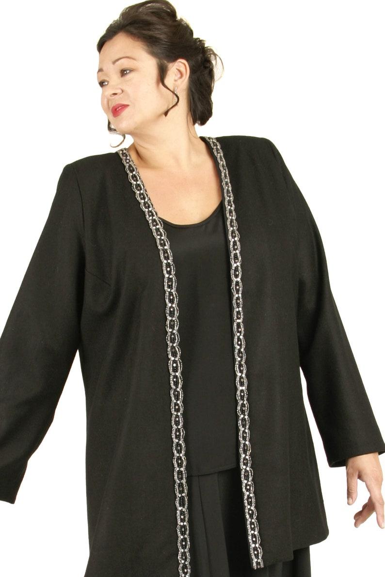 40898406c6 Plus Size Wedding Guest Dress Fall Winter Black Formal Jacket