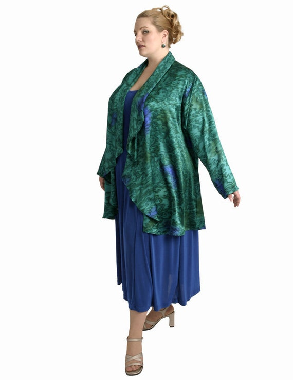 318ce523079ed Plus Size Mother of Bride Jacket Dress Emerald Green Royal