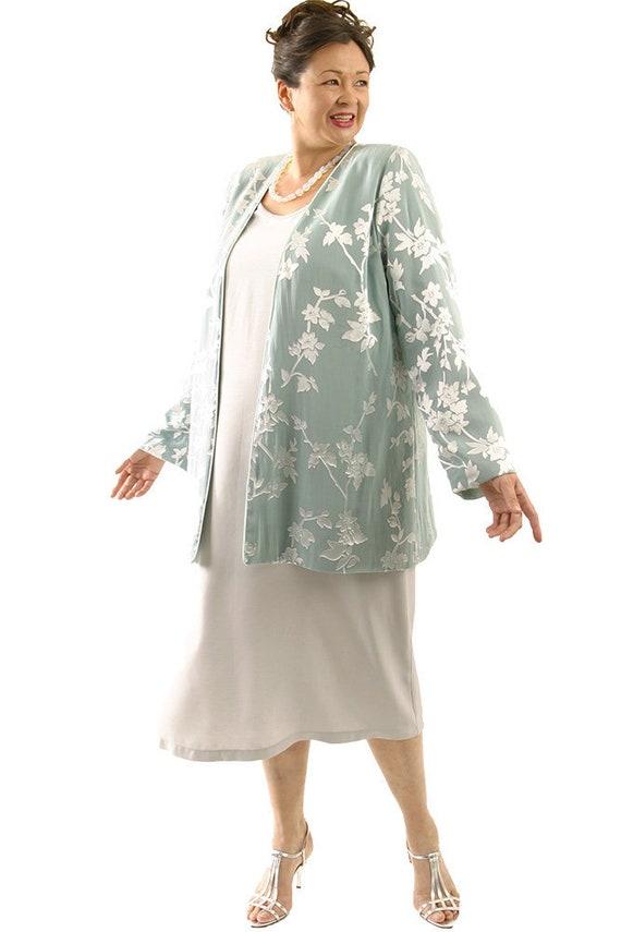 Plus Size Wedding Dress 2 Piece Jacket Dress Custom Ensemble Sage, Silver  Silk Floral Special Occasion Custom Made
