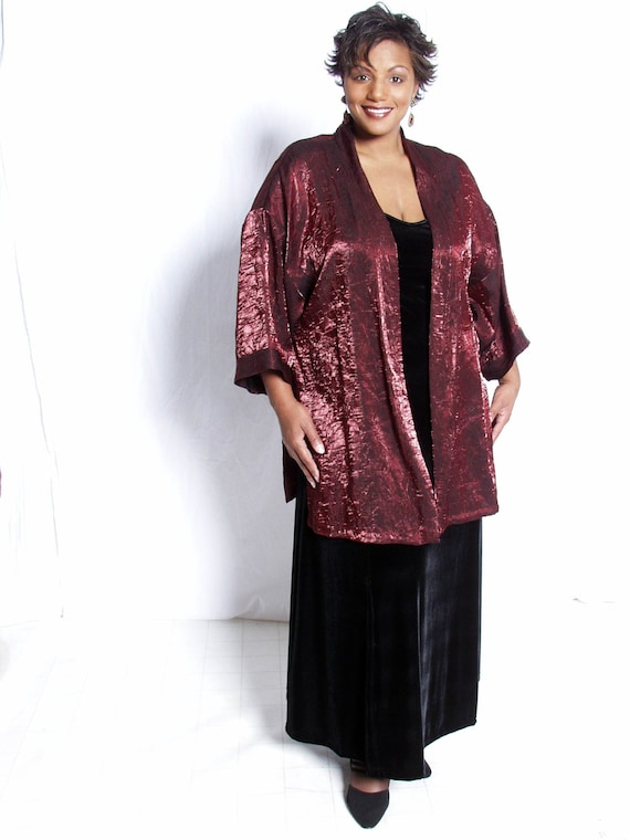 Mother of the Bride Dress Plus Size with Jacket Special Occasion Formal  Outfit Ruby Red Crinkle Kimono Sizes 14/16, 22/24, 26/28, 30/32
