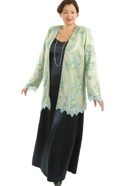Plus Size Mother of Bride Dress Sleeves Jacket Jade, Aqua, Ecru Embroidered  Beaded Lace Special Occasion Dress Custom Made