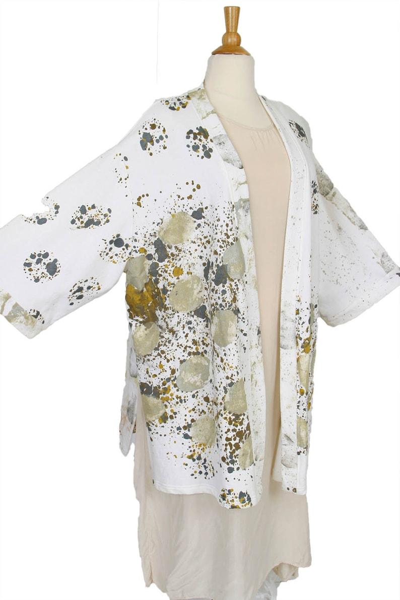 9afa682acafda Special Occasion Kimono Jacket Wearable Art White Black Taupe