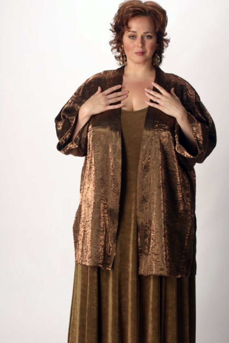 Dressy Plus Size Jacket Special Occasion Formal Outfit Bronze Crinkle  Kimono Size 30/32