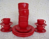 Vintage, Homer Laughlin, Fiesta, Scarlet Red, 18 Pc Set 4 Dinner Plates, 2 Salad Plates, 4 Chili Bowls, 4 Cups, 4 Saucers, USA, Excellent