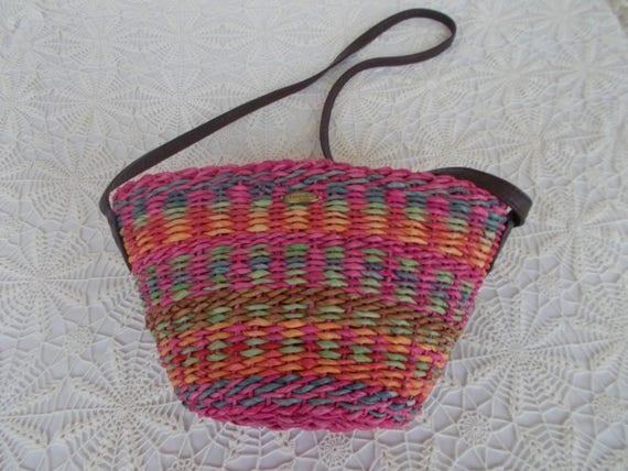 più vicino a primo sguardo 100% qualità Cappelli Vintage Purse Strawworld Multicolored Hot Pink | Etsy