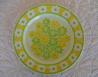 """Franciscan, Earthenware, Picnic Pattern, 1 Dinner Plate, 10 3/4"""" Across, Oven Safe, Made in USA, 1970's, Excellent Condition"""