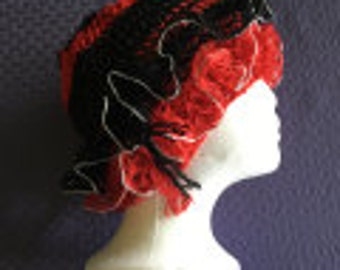 Latest Rage:  Ladies' Knit Hat with Ruffle Black and Red