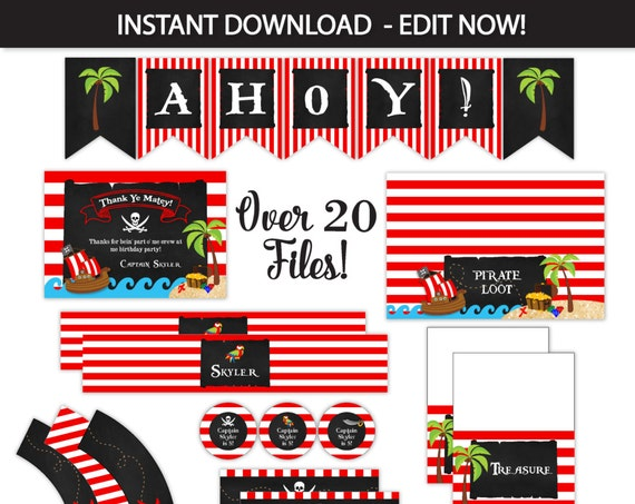 Pirate Party Decorations, Pirate Party Favors, Pirate Party Pack - Pirate Party Labels - INSTANTLY Downloadable and EDITABLE Files!