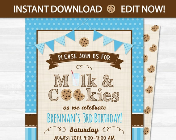 Cookies and Milk Party Invitations - Milk and Cookies Party Invitations - Instantly Downloadable and Editable File - Edit with Adobe Reader!