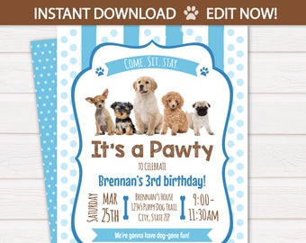 Puppy Birthday Invitation Dog Party Invitations