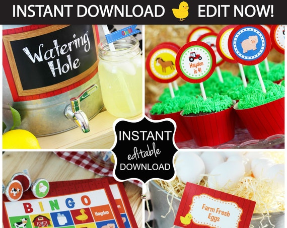 Farm Birthday Party, Farm Party, Barnyard Birthday, INSTANTLY Downloadble and EDITABLE Files!!! - Farm Party Supplies, Farm Birthday Supplie