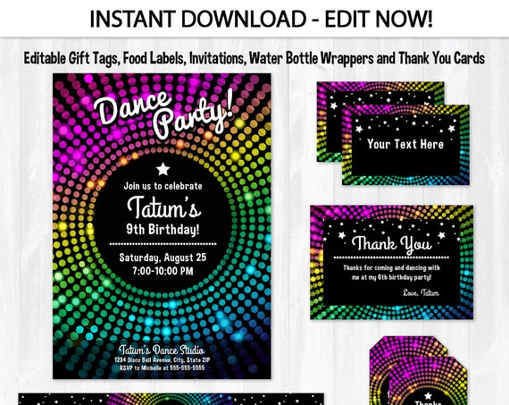 Dance Party Invitations - Disco Dance Birthday Invitations - Disco Party Invitations - Dance Party Thank You - INSTANT DOWNLOAD! - Edit NOW!