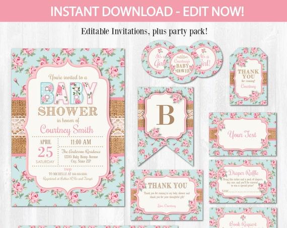 Shabby Chic Baby Shower Invitations - Shabby Chic Baby Shower Ideas - Shabby Chic Invitations - INSTANT DOWNLOAD! Edit NOW!
