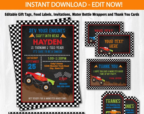 Monster Truck Invitation - Monster Truck Birthday Invitation - Monster Truck Supplies - Monster Truck Party - INSTANT DOWNLOAD!