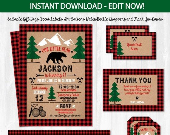 Lumberjack Party Supplies - Lumberjack Party Invitations - Lumberjack Birthday Party Ideas - INSTANTLY downloadable & EDITABLE!! Edit NOW!