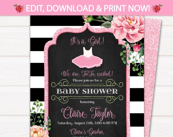 Tutu Baby Shower Invitations - Tutu Cute Baby Shower Invitations - Tutu Invitations for Baby Shower - EDIT at home NOW with Templett.com