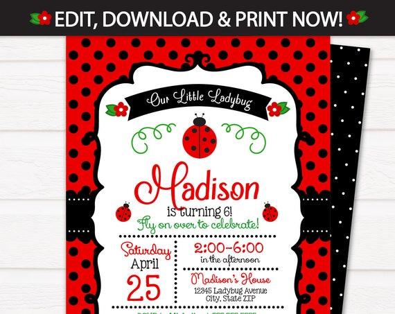 Ladybug Party Invitations - Ladybug Birthday Invitations - Ladybug Party Supplies - Ladybug Party Ideas - INSTANT ACCESS - Edit NOW
