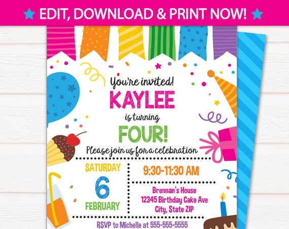 Birthday Cake Party Invitations - Birthday Party Invitations - Pink Birthday Invitations- Birthday Invitations- INSTANT ACCESS - Edit NOW!