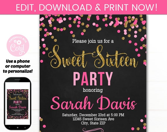 Sweet 16 Invitations - Sweet 16 Party Invitation - Sweet 16 Birthday Party - Sweet 16 Chalkaboard Invite - Sweet Sixteen Party - Sweet 16th