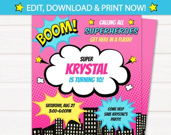 Girl Superhero Party Invitations - Superhero Invitations - Superhero Birthday Invitations - INSTANT DOWNLOAD - Edit NOW with Templett.com!