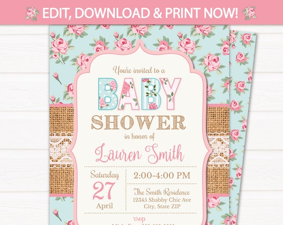 Shabby Chic Baby Shower Invitation, Girl Baby Shower Invitation, Vintage Baby Shower, Shabby Chic Invitation, INSTANT ACCESS - Edit NOW!