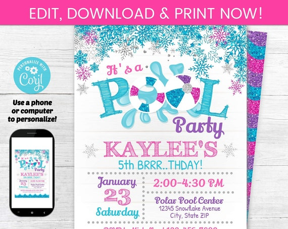 Pool Party Invitation - Swimming Birthday Party - Pool Party Invitations - Girl's Pool - Pink Pool Party - Winter Pool Party Invites
