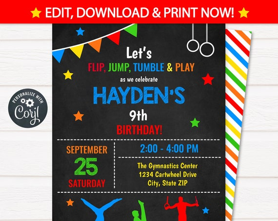 Gymnastics Invitations - Boys Gymnastics Birthday Invitations - Men's Gymnastics Invitation - Gymnastics Party - Edit NOW! Corjl