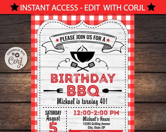 BBQ Invitations - BBQ Birthday - BBQ Party Invitations - Barbecue Party - Instant Access to files! Barbecue Party Invitations - Corjl