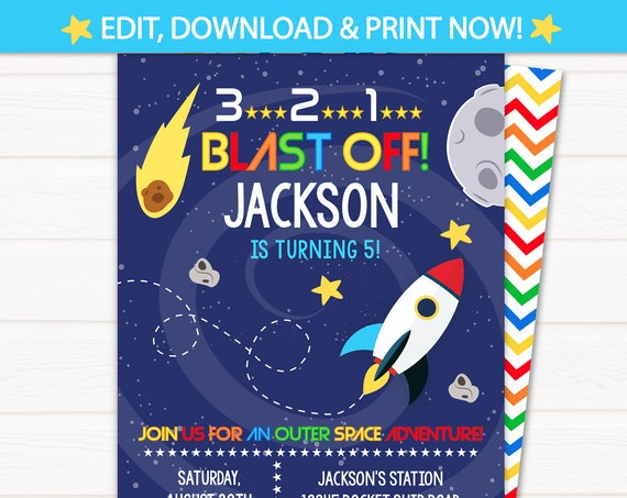 Space Party Invitations - Space Themed Party - Outer Space Birthday Party Invitations - Rocket Party - Space  Birthday - INSTANT ACCESS!