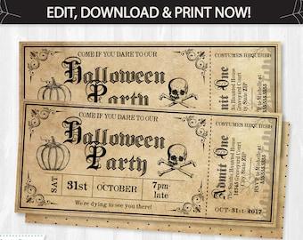 Halloween Invitations, Halloween Ticket Invitations, Halloween Tickets, Halloween Party Invitations - Ticket Halloween Party -INSTANT ACCESS