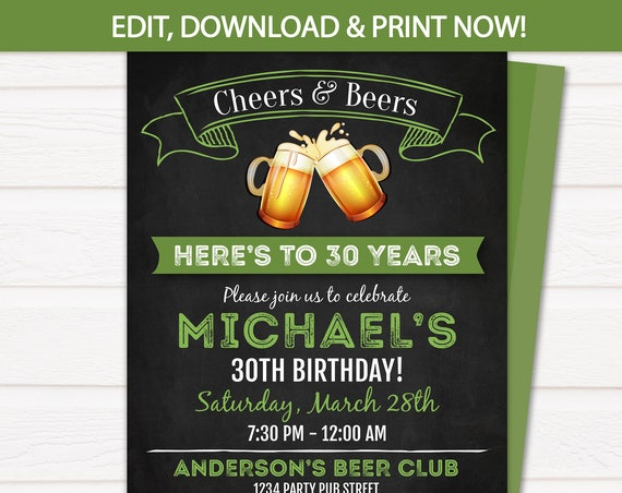 Beer Birthday Invitation - Cheers and Beers Invitation - 30th, 40th, 50th, 60th - Green - EDIT at home NOW with Templett.com - Arctic Party