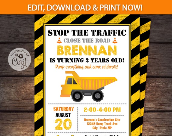 Construction Invitation - Construction Birthday Party Invitation - Construction Party Invitation - Construction Invite - Edit NOW Instantly!