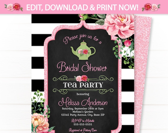 Bridal Shower Tea Party Invitations - Tea Party Bridal Shower Invitations - Bridal Shower Party Invitations - INSTANT ACCESS - Edit NOW