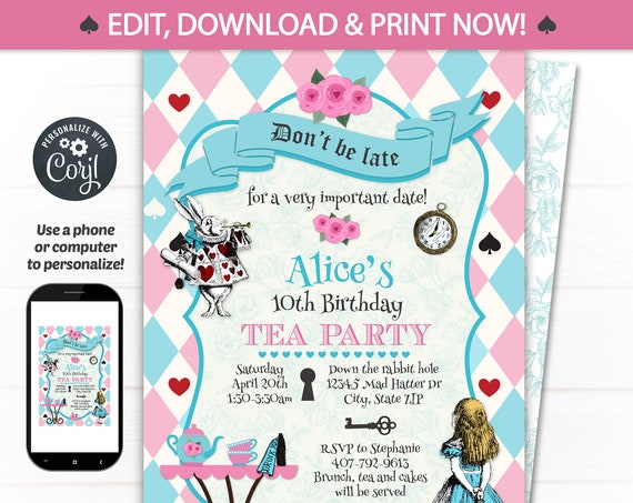 Alice in Wonderland Invitations - Alice in Wonderland Tea Party - Alice in Wonderland Birthday Invitations - INSTANT ACCESS - Corjl